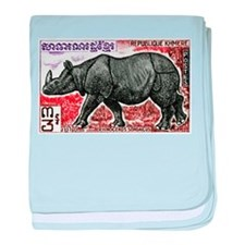 1972 Cambodia Javan Rhino Postage Stamp baby blank