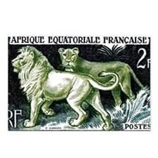 1954 French Equatorial Africa Lions Postage Stamp