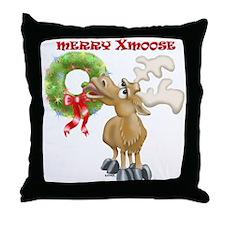 Merry Xmoose Throw Pillow