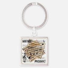 Vintage Music Square Keychain
