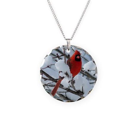 Snow Cardinal Necklace Circle Charm