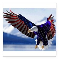 "All American Eagle Square Car Magnet 3"" x 3"""