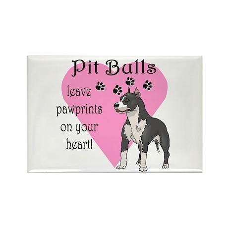 Pit Bulls Pawprints Rectangle Magnet (100 pack)
