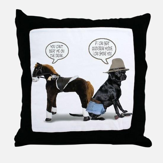 Black Lab Cowboy Throw Pillow