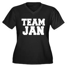 TEAM JAN Women's Plus Size V-Neck Dark T-Shirt