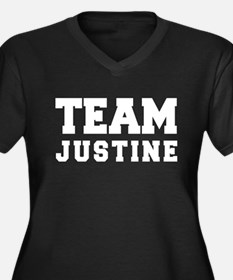 TEAM JUSTINE Women's Plus Size V-Neck Dark T-Shirt