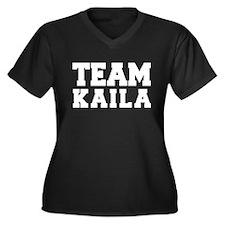 TEAM KAILA Women's Plus Size V-Neck Dark T-Shirt