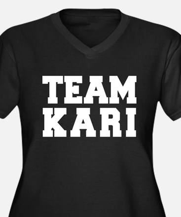 TEAM KARI Women's Plus Size V-Neck Dark T-Shirt