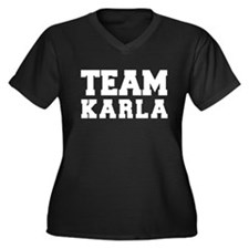 TEAM KARLA Women's Plus Size V-Neck Dark T-Shirt