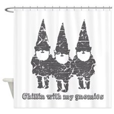 Chillin with my gnomies Shower Curtain