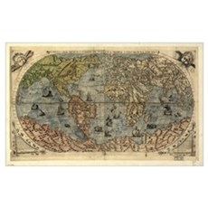 16th century world map Canvas Art