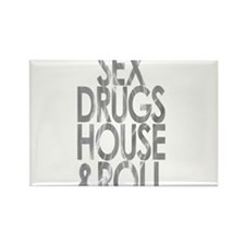 SEX DRUGS HOUSE AND ROLL SILVER PRINT Rectangle Ma