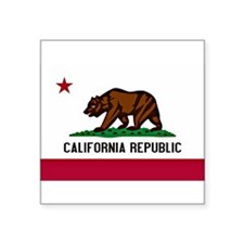"California Flag Square Sticker 3"" x 3"""
