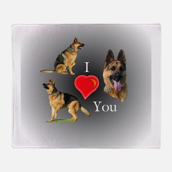 I Love You German Shepherd Throw Blanket