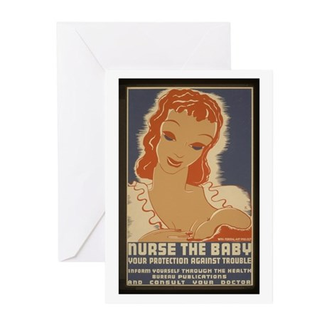 Nurse the Baby WPA Greeting Cards (Pk of 10)