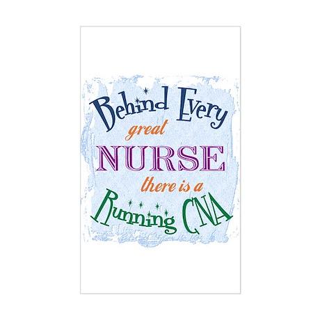 Behind Nurse, Running CNA Rectangle Sticker