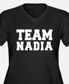 TEAM NADIA Women's Plus Size V-Neck Dark T-Shirt