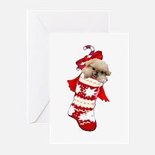 pekingese christmas stocking Greeting Cards (Pk of
