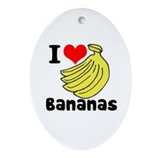 I Heart (love) Bananas Oval Ornament