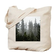Misty pines Tote Bag