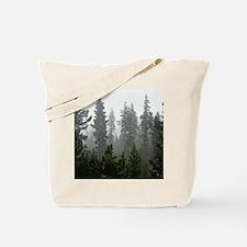 Misty pines Tote Bag