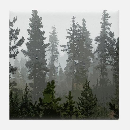 Misty pines Tile Coaster