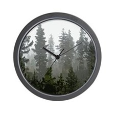 Misty pines Wall Clock