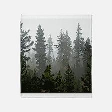 Misty pines Throw Blanket