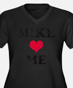 Mike Loves Me Women's Plus Size V-Neck Dark T-Shir