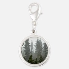Misty pines Silver Round Charm