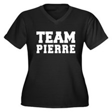 TEAM PIERRE Women's Plus Size V-Neck Dark T-Shirt