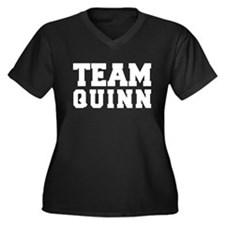 TEAM QUINN Women's Plus Size V-Neck Dark T-Shirt