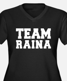TEAM RAINA Women's Plus Size V-Neck Dark T-Shirt