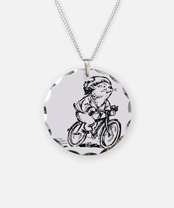 muddle headed wombat on bike Necklace