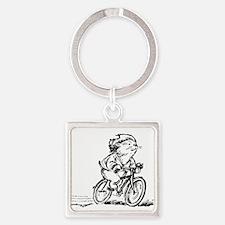 muddle headed wombat on bike Square Keychain