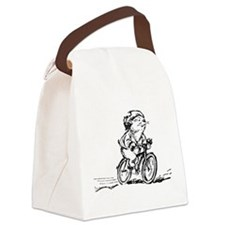 muddle headed wombat on bike Canvas Lunch Bag