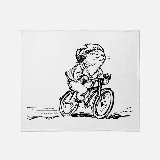 muddle headed wombat on bike Throw Blanket