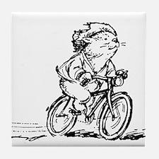 muddle headed wombat on bike Tile Coaster