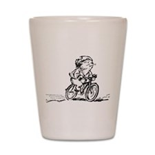 muddle headed wombat on bike Shot Glass
