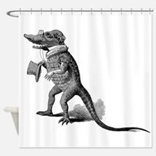 Alligator with top hat Shower Curtain