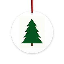 Woodblock Christmas Tree Ornament (Round)