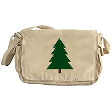 Woodblock Christmas Tree Messenger Bag