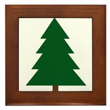 Woodblock Christmas Tree Framed Tile