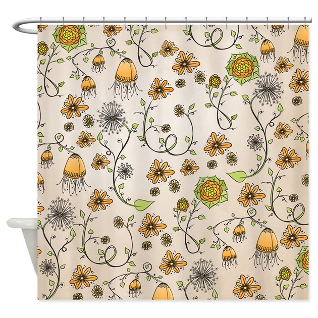Whimsical Yellow Flowers On Beige Shower Curtain By Zandiepantsdoodles