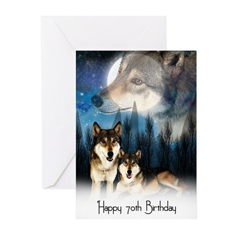 American Indian Style Wolf Birthday Car (Pk of 10)
