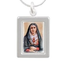 Sorrowful Mother Silver Portrait Necklace