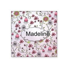 Whimsical flowers with text frame Square Sticker 3