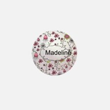 Whimsical flowers with text frame Mini Button