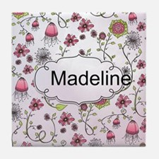 Whimsical flowers with text frame Tile Coaster