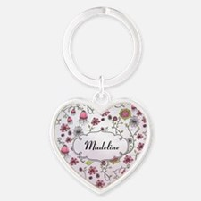 Whimsical flowers with text frame Heart Keychain
